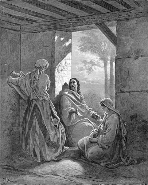Jesus talks with Mary and Martha in their house by Gustave Doré