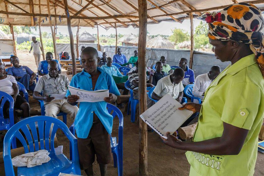 Neema A'dilo leads a literacy workshop in the Bidi Bidi                                 refugee settlement.