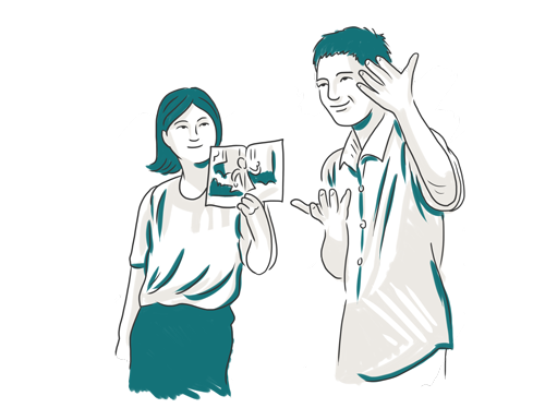 An illustration of a man and a woman demonstrating Thai sign language