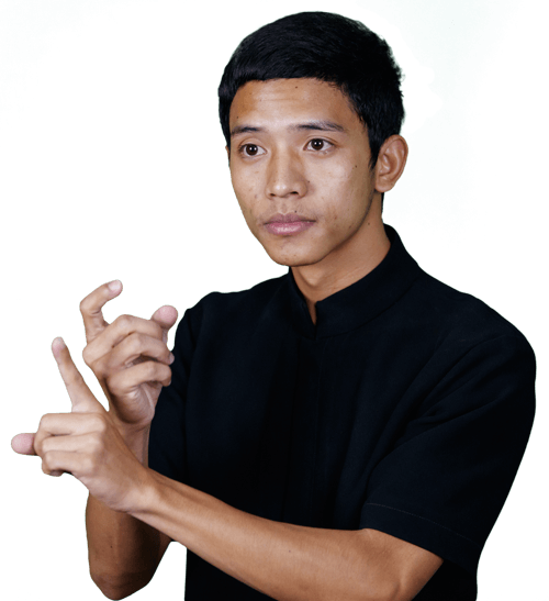 Thai man using sign language