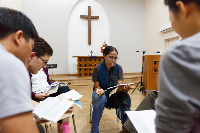 Bible study inside a church in Thailand