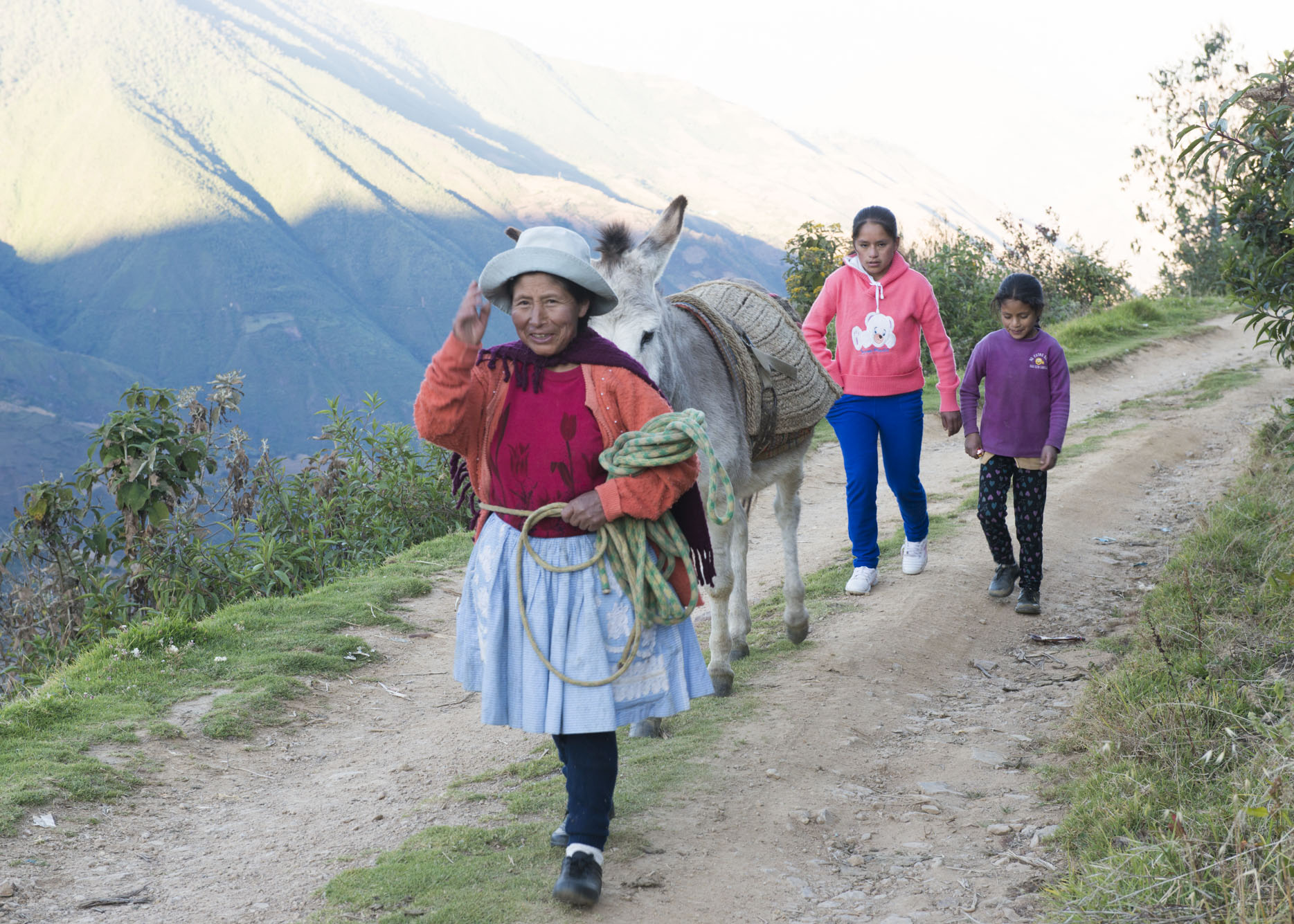 A woman walking a donkey on a trail