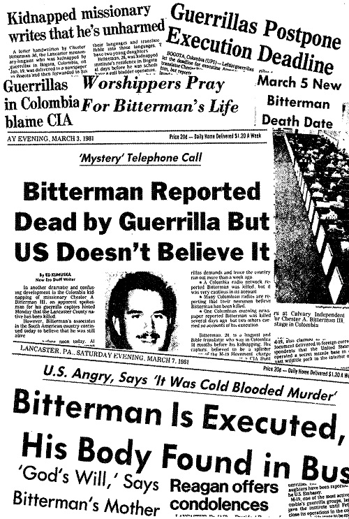 News headlines of Bitterman's death