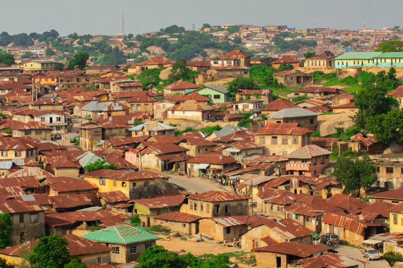 View of a Nigerian city rooftops