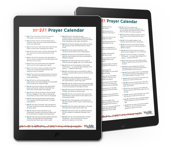 30-day prayer calendar on electronic tablet
