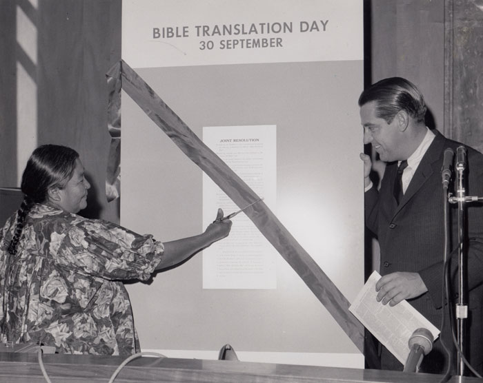 Cutting the ribbon at the celebration of the first official Bible Translation Day