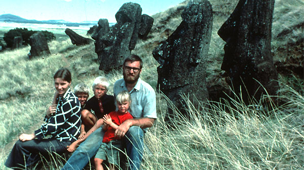 Bob and Nancy Weber with their children in the early years of their work on Easter Island