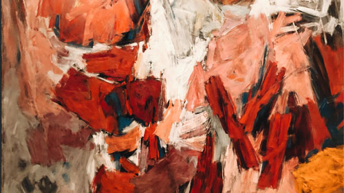 abstract painting with red strokes