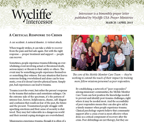 Called to Suffer     and Heal   Wycliffe Bible Translators